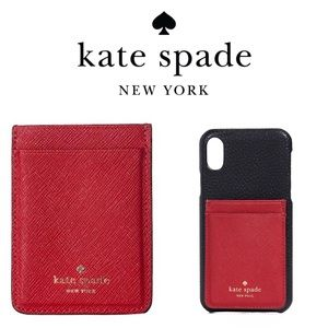 🆕 Kate Spade Red Leather Phone Sticker Pocket
